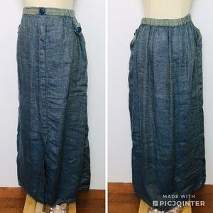 Flax 100% Linen Chambray Maxi skirt Sz Small